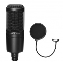 Audio Technica AT 2020 Studijas Kondensatora Mikrofons (+ Free Pop Filter)