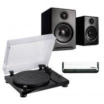 Audio Technica AT-LPW50PB + Audioengine A2+ Wireless (Black) Bundle