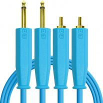 DJ Techtools Chroma Dual 6.3mm TRS - Dual RCA Cable 1.5m (Blue)